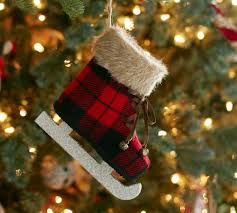 plaid skate ornament pottery barn buffalo check me out
