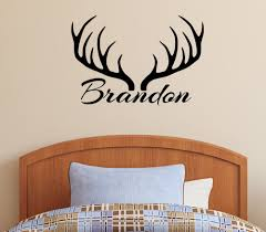 world miniature bears rabbit personalized name deer antlers rack vinyl wall decal sticker hunting decor