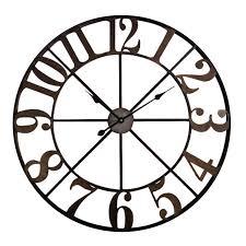 widdop vintage large round brown metal cut out design 80cm wall clock