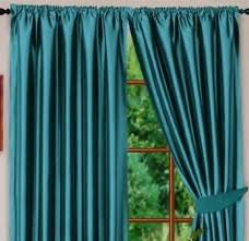 Teal Curtains Teal Blue Colour Stylish Faux Silk Fully Lined Pair Of Curtains