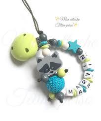 perle en bois pour attache tetine attache tétine personnalisée perles en bois modèle raton laveur