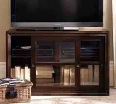 Small Media Cabinet Furniture Winslow Glass Door Media Stand Pottery Barn