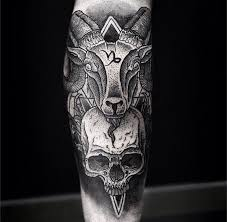 awesome goat head and skull with sacred sumbols dotwork forearm