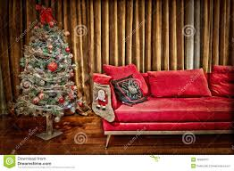 modern living room with decorated christmas tree stock photo
