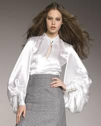 in satin blouses lyst laurent duchess satin blouse in white