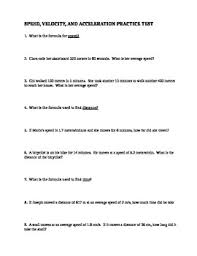 Speed Velocity And Acceleration Worksheet With Answers Speed Velocity Acceleration Practice Test With Answer Key By