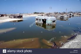 bombay beach on the salton sea of california is being covered by