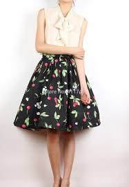 cotton skirt 50s vintage skirt hepburn style black cherry cotton skirt with