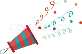 party confetti popper on a white background popper with streamers and