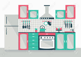modern kitchen interior cartoon flat vector illustration objects