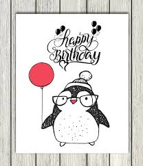 happy birthday sign cute penguin red balloon vibe