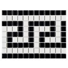 Mosaic Border Bathroom Tiles Merola Tile Metro Greek Key Matte White And Black Border 8 In X