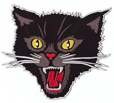 black screaming cat rockabilly horror patch titan one