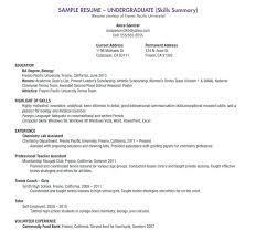 Resume For A Summer Job Resume Sample College Student Student Resumes Sample Resume For