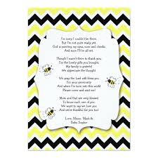 gift card baby shower poem bumble bee baby shower thank you note with poem card zazzle