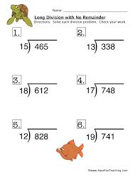long division no remainder worksheet 4
