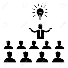 flat design business icon of manager presenting new idea on