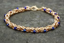 blue seed byzantine bracelet with cobalt blue seed beads bracelets and