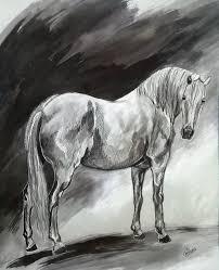 tableau portrait noir et blanc dessins et tableaux de chevaux