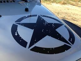 jeep army green jeep wrangler hood decal oscar mike distressed army star