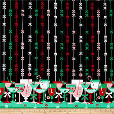 Home Decor Print Fabric Michael Miller Holiday Party Candy Cane Cocktails Border