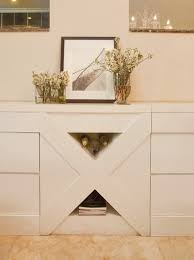 x shape built in storage cabinet