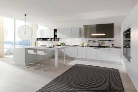 modern white kitchen cabinets pull down faucet mix smooth surface
