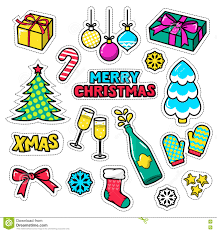 set of christmas icons patches badges stickers pins vector