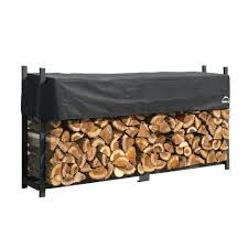shelterit 8 ft heavy duty firewood log rack with cover 21208 for