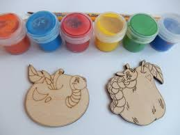 2 worms and fruit laser cut wooden shapes for coloring