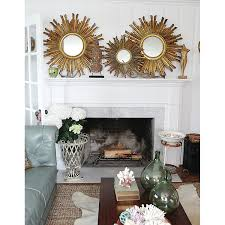 Sofa For Living Room by Decorating Round Gold Sunburst Mirror For Pretty Wall Decoration