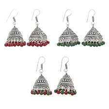 Buy Tribal German Silver Jhumka Combo Jhumka U0026 Earrings Buy Latest Collections Glowroad