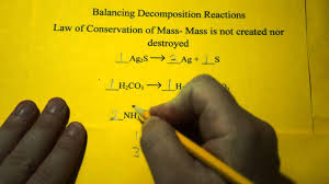 balancing chemical equations decomposition reactions youtube