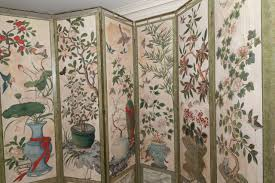 18th century chinese hand painted paper folding screen for sale at