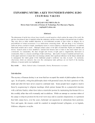 exploring myths a key to understanding igbo cultural values pdf
