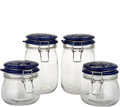 temp tations floral lace set of 4 glass canisters w ceramic lid