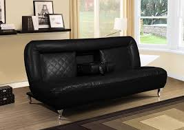 bentley black faux leather futon sofa bed w fold down tray for