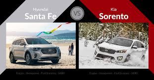 kia sorento vs hyundai santa fe 2017 hyundai santa fe vs kia sorento carsforsale com