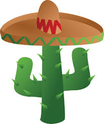 cartoon sombrero clipart of a mexican cactus wearing a sombrero hat