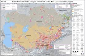 Central Asia Map by Central Asia Protected Areas Map U2022 Mappery
