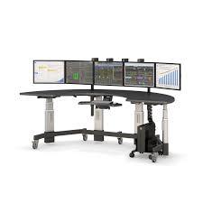Computer Desk For Multiple Monitors Multiple Monitor Semi Circle Desk Afcindustries Com