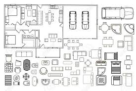 top view floor plan floorplan with isolated furniture elements in top view royalty free