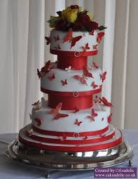 Red And White Butterfly Wedding Cake Cake Of The Month Wedding