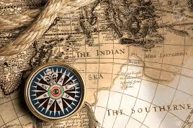 Vintage Map Old Compass And On Vintage Map Stock Photo Picture And