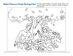 coloring book bible stories people disobeyed god hidden pictures activity adam and eve bible