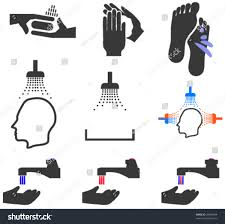 sanitary set sanitary hygienic pictorial symbols icons stock vector