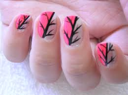pink scaled gradient with freehand silhouette nail art twists