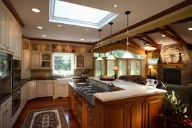 Two Tone Cabinets Kitchen Design Luxury Classic Wood Kitchen With Island And Chairs