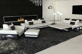 Leather Sofas Sets Modern L Shaped Sofa Dallas With Led Lights