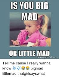 Are You Mad At Me Meme - is you big mad or littlemad memegeneratornet tell me cause i really